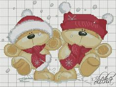 Xmas Cross Stitch, Cross Stitch Books, Cross Stitch Heart, Cross Stitch Cards, Cross Stitching, Cross Stitch Embroidery, Cross Stitch Patterns, Teddy Bear Crafts, Fizzy Moon