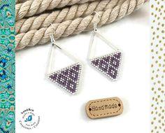 Boucles d'Oreilles Géométriques Perles Tissées Perles Miyuki Japonaises Triangle Mauve Argenté Légères Cadeau Femme Fait Main Fête des Mères