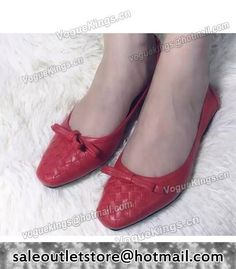Bottega Veneta Upper Calfskin Leather Woven Ballet Shoes Red #women fashion outfit #clothing style