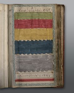 Pattern book of the Emanuel Hoffmann silk ribbon factory  Basle, ca. 1770/80 Bound in morocco leather height 19 cm, width 11.5 cm Inv. 1880.170. #fashion #art #kunst #mode #fabrics #stoffe #schmuck #jewelry #museum #basel #schweiz #switzerland #history #geschichte