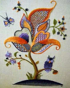 """Lovely heart things: embroidery techniques. Part 21: """"Embroidery Crewel embroidery and Jacobin"""""""