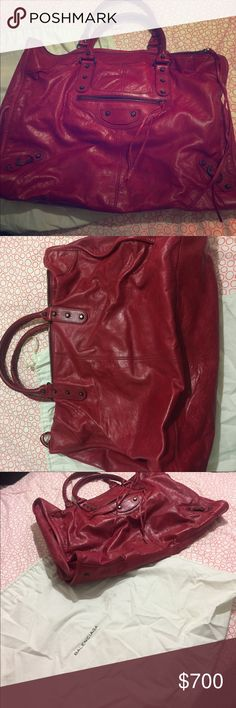 Balenciaga classic Sunday large tote Red leather large tote perfect for weekend travels Balenciaga Bags Totes