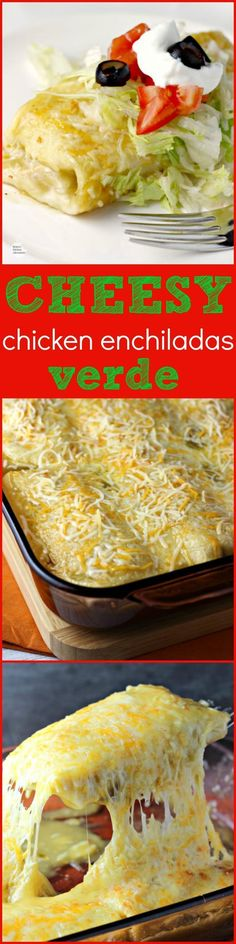 Cheesy Chicken Enchiladas Verde | by Renees Kitchen Adventures - an easy dinner or lunch recipe for chicken enchiladas in green chili sauce with lots of CHEESE!
