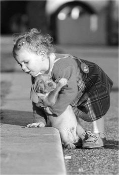 Very sweet - baby and puppy