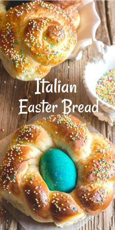 This Traditional Italian Easter Bread is a soft sweet brioche dough formed into wreaths or braided. Coloured eggs are baked into the bread and the bread is sprinkled with lots of sprinkles. Easter Bread Recipe, Easter Recipes, Holiday Recipes, Italian Desserts, Easy Desserts, Dessert Recipes, Recipes Dinner, Dessert Simple, Easter Dinner