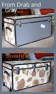 Everyday Art: Trunk Makeover. I totally have one of these generic trunks. Looks so much better covered.