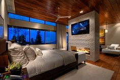 Gorgeous. Fireplace huge windows wood walls and ceiling. Amazing