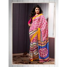 Lovely  Pink And White color printeed saree with new stylist look for new genration lady