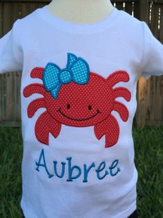 Crab T-Shirt or Onesie - Of July T-Shirt or Onesie - Boy - Girl - Toddler - Baby - Infant Beach T Shirts, Summer Shirts, Vacation Shirts, Embroidery Applique, Machine Embroidery, Embroidery Designs, Boy Onesie, Onesies, Bodysuit Shirt