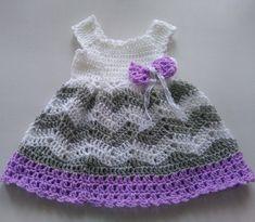 Baby Girl Crochet Dress, BabyChevron Baby Dress ,Baby Crochet Dress, Grey Purple Baby Dress by paintcrochet on Etsy