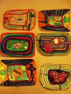 students' art spirals inspired by Hundertwasser Friedensreich Hundertwasser, Artist Project, Modern Artists, Outsider Art, Art Plastique, Elementary Art, Teaching Art, Famous Artists, Art And Architecture