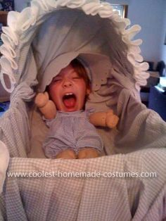 Coolest Baby in a Bassinet Illusion Costume... This website is the Pinterest of funny Halloween costumes