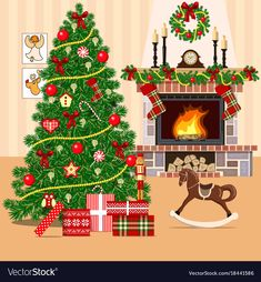 Christmas decorated room with christmas tree vector image on VectorStock Very Merry Christmas, Christmas Eve, Christmas Cards, Christmas Decorations, Holiday Decor, Fireplace Drawing, Christmas Decoupage, Xmax, Christmas Drawing
