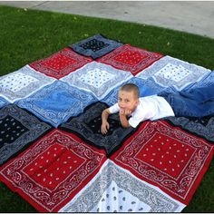 We are ready for summer with our bandana blanket. Would be great for those 4th of July picnics or for watching fireworks in the grass!!