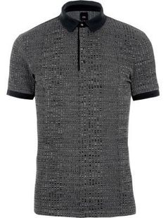 955bc8ee4ae88 Dark grey muscle fit ribbed polo shirt - Polo Shirts - men