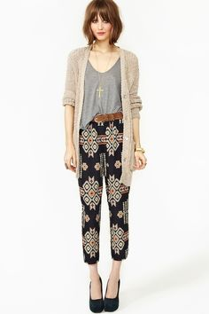 high-waisted tribal cropped pants, belted shirt and long cardigan