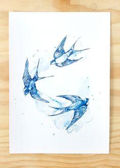 Blue Swallows bird print - Contemporary art print of pencil and watercolour drawing Bird Pencil Drawing, Bird Drawings, Tattoo Drawings, Tattoo Art, Robin Bird Tattoos, Swallow Bird Tattoos, Bird Tattoo Sleeves, Bird Tattoo Wrist, Golondrinas Tattoo