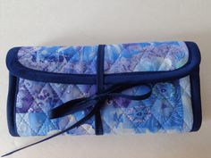 Crochet Hook Case Blue Navy Purple Teal White Flower Patchwork Quilted Bag by RoxannasBags on Etsy