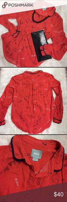 "Maeve Art House Red Button up Paris London This gorgeous Anthropologie red button down has Paris, London, and Milan beautifully written all over. Wear this to your next date to your local art museum!   Size 4  100% rayon  This is a preloved shirt but has plenty of life left in it!   Bust 19""  Shoulder to hem 23"" front and 27"" back Anthropologie Tops Button Down Shirts"