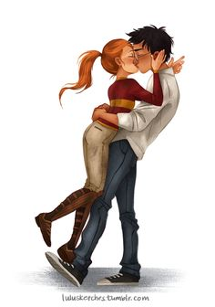 Harry Potter & Ginny Weasley Fan Art by Laura Price {lulusketches.tumblr.com}