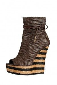 Burberry Woven Wedge Ankle Boots
