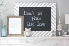 DIY Chalkboard- the diagonal stripes would look so cute on the plywood frames also!