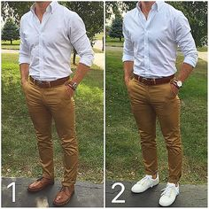 The weather is frigid here today ❄️, so I thought I'd throw it back to warmer  times and a classic style question. Which do you prefer with an outfit like this, the classic brown shoes  or the white sneakers ❓❓ 1 or 2❓  _______________________________________________________  Shirt: @batchmens  Chinos: @stockmfgco  Belt: @buffalo_head_leather  Shoes 1: @ghbass  Shoes 2: @koiocollective  Watch 1: @donkylne  Watch 2: @danielwellington