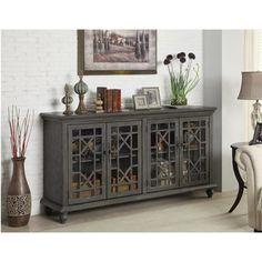 4-Door Media Credenza in Joplin Texture Grey | Nebraska Furniture Mart