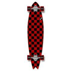 Fishtail Longboard Complete - Checker Red