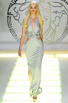 Sixteen year old Daphne Groeneveld walking for Versace Milan Spring/Summer 2012. At 15, she appeared on the cover of Vogue Paris with Tom Ford.
