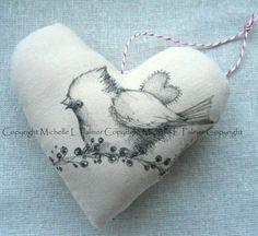 Heart Soft Sculpture Pincushion Pillow Ornament Pen Ink Fabric Illustration by Michelle Palmer Winter Berry Cardinal Baby Heart Love