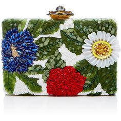 Oscar de la Renta Floral Embellished Clutch (39.745.990 VND) ❤ liked on Polyvore featuring bags, handbags, clutches, multi, chain strap purse, special occasion clutches, evening clutches, beaded evening purse and floral purse