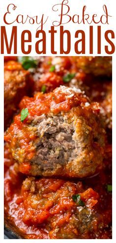 Easy Baked Meatballs Recipe & Video with Marinara Sauce - Baker by Nature Beef Recipes For Dinner, Ground Beef Recipes, Meat Recipes, Cooking Recipes, Pureed Recipes, Meatloaf Recipes, Drink Recipes, Crockpot Recipes, Chicken Recipes