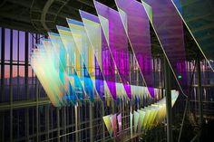 Stunning Light Installation in a Renzo Piano Skycraper Fubiz Media Renzo Piano, Light Luz, Glass Installation, Glitch Art, Futuristic Architecture, Elements Of Art, Glass Design, Retail Design, Mall Design