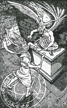 A demon idol begins to come to life as a summoning ritual takes effect. (Lawrence Heath from Fantasy Wargaming by Bruce Galloway, Stein and Day, 1981.)