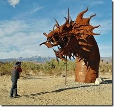 We love this photo, so awesome! Borrego Springs Serpent Metal Sculpture #art #travel.