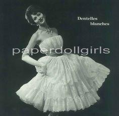 1959 L'Officiel de La Couture et de la Mode de Paris - lace strapless cocktail dress by Jeanne Lanvin Castillo, Paris.
