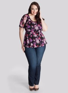 Florence Peplum Top in Rose Bouquet