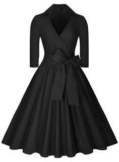 Miusol Women's Deep-V Neck Half Sleeve Bow Belt Vintage Classical Casual Swing Dress, Black, Small