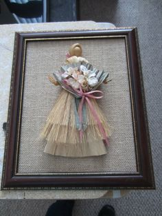 Corn husk doll on burlap I made