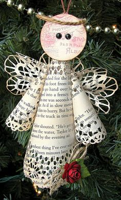 Sweet angel ornament from book paper #Christmas #papercrafts  would use sheet music