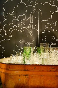 Might be fun to paint some plywood with chalkboard paint, and then draw on it with chalk...