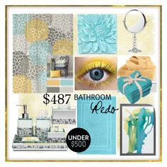 Blue and Yellow Bathroom by calamity-jane-always on Polyvore featuring polyvore, interior, interiors, interior design, home, home decor, interior decorating, Ralph Lauren, Hotel Collection, bathroom, zgallerie, under500 and bathroomredo