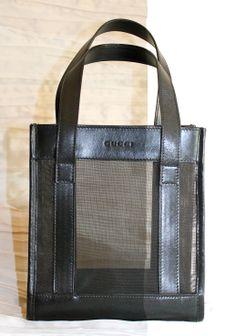 Minishopper GUCCI in vitello nero e rete.