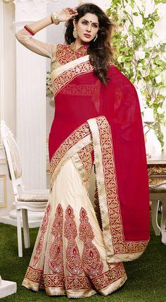 USD 122.29 Dark Red Georgette Party Wear Lehenga Saree 42462