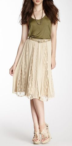 Lace Panel A-Line Skirt - like the colors