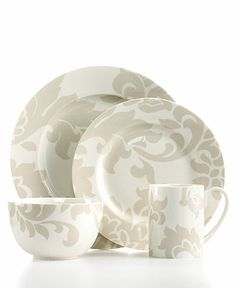 Martha Stewart Collection Dinnerware, Lisbon Grey 4 Piece Place Setting Reg. $50.00  Sale $34.99