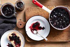 Blackberry jam: 1kg fruit, 1kg sugar, zest of 2 lemons.