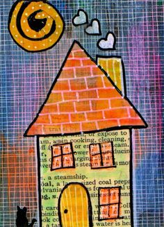 House at Night Goth Cat Original Mixed Media Collage Painting ACEO