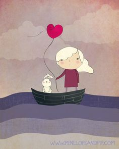 Art Print - Original illustration by Penelope and Pip, If I could Sail on Stormy Seas. $20.00, via Etsy.